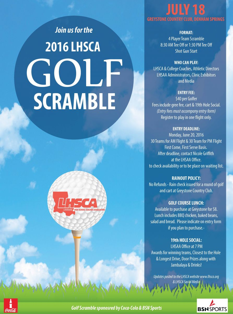 louisiana high school coaches association golf scramble